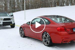 Tug Of War In Snow: BMW M4 Vs Toyota Tacoma 12
