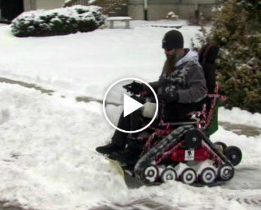 Iraqi War Veteran Modifies Wheelchair To Become An Amazing Snowplow 4