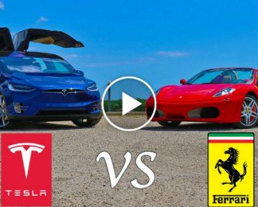 Tesla Model X P90D Drag Races Ferrari F430 7