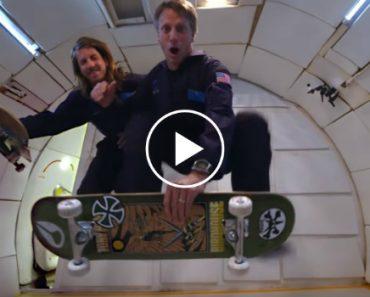 "Skaters Tony Hawk and Aaron ""Jaws"" Homoki Doing Tricks In Zero Gravity 1"