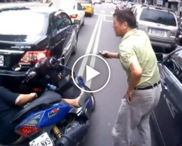 Driver Knocks Down Moped Then Accidentally Makes It Worse 3