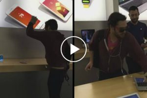Angry Customer Smashes iPhones With Metal Ball In Apple Store 12