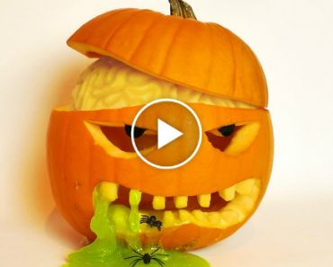 Halloween Pumpkin Carving Idea with Brain and Slime! 7