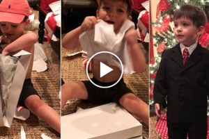 Little Boy Gets Weather man Suit For Christmas 10