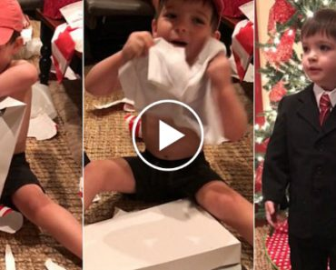 Little Boy Gets Weather man Suit For Christmas 5