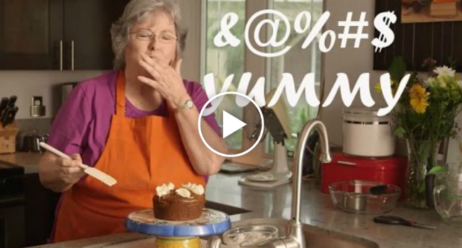 Granny with a potty mouth teaches you to make vegan and for Granny pottymouth bakes a vegan cake