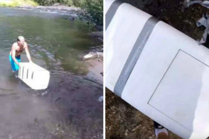 Guy Gets Super Creeped Out By The Contents Of Floating River Cooler 11