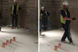 "This ""Plumber Vs Electrician"" Prank On a Building Site Is Brilliant But Oh So Dangerous 11"