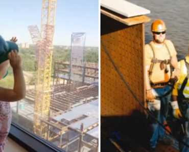 Little Girl Waves At 2 Workers Outside Her Window, Their Response Made Mom Burst Into Tears 5