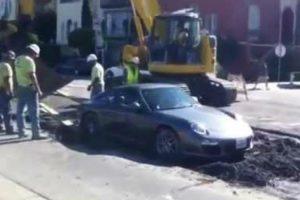 Impatient Porsche Driver Gets Stuck In Wet Cement 12