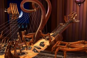 An Animated Multi-Necked Stringed Instrument With Spidery Fingers Plays Itself an Acoustic Tune 12