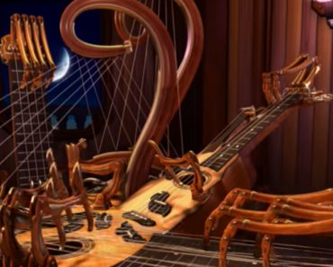 An Animated Multi-Necked Stringed Instrument With Spidery Fingers Plays Itself an Acoustic Tune 8