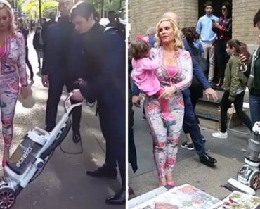 Man Vacuums Street Before Ice T's Wife, Coco As She Walks Down Broadway With Daughter 8