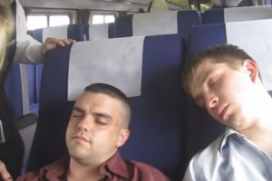 Pretty Sure These Two Guys Don't Have A Ticket! Watch This Lady Wake Them Up By Strangulation! 11