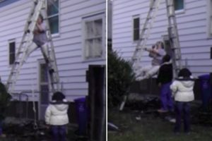 Crazy Woman Demonstrates All The Wrong Ways To Climb Down A Ladder 11