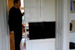 Clever: Man Installs Television In Sliding Door 10
