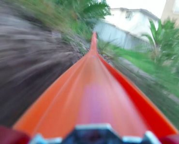 Video Camera On Hot Wheels Toy Car Riding Down Track 1