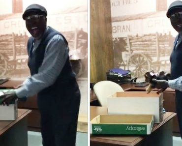 Coworkers Surprise Janitor With A New Puppy After His Dog Dies 2