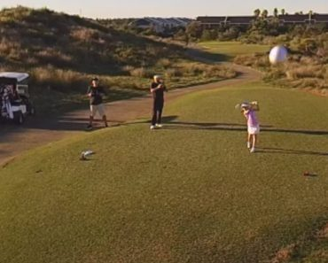 8 Year Old Golfer Knocks Drone Out Of The Sky 3