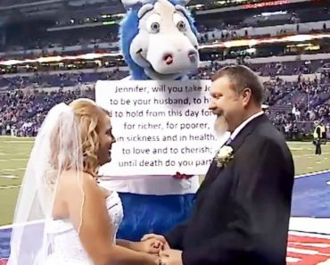 Couple Gets Married by Indianapolis Colts Mascot on Football Field 2