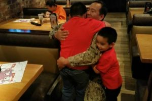 8-Year-Old Boy Cries As Navy Dad Surprises Him at Restaurant 12