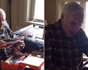 Dad Reacts Pricelessly to Getting Light Up Shoes for His Birthday 3