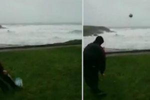 This Is What Happens When Kildare GAA Star Kicks Football Into Storm Eleanor 12