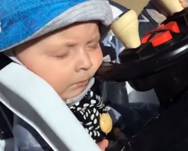 Infant Falls Asleep At The Wheel While Driving His Electric Toy Car Around In Circles 3