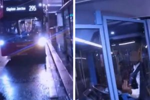 Bus Driver Traps An Angry Biker Inside The Double Decker 11