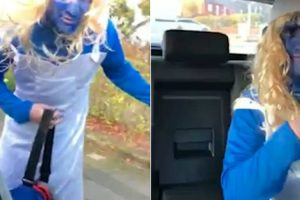 Man Left In Blue As Pals Prank Him By Wearing As Smurf On Day Out 12