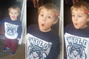 Little Kid Stunned To Learn Lollipop Stuck In His Hair 11