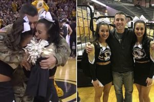 Military Dad Surprises His Twin Cheerleader Daughters at College Basketball Game 12