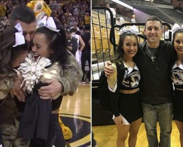 Military Dad Surprises His Twin Cheerleader Daughters at College Basketball Game 3