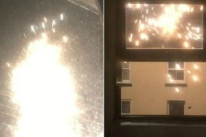 Shocked Resident Films Sparking Electricity Cable Gone Wild 10