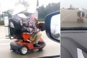 Elderly Woman Takes Mobility Scooter On A Joy Ride 10