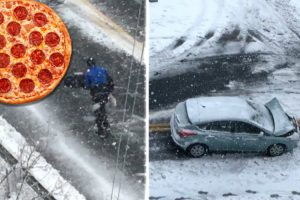 Nor'Easter Didn't Stop Pizza Delivery Man From Doing His Job 12