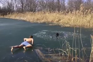 Guy Rescues His Brother's Dog That Fell Through A Frozen Lake 11