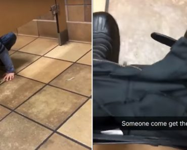 Friendly Kid Crawls Under Man's Toilet Stall While He Was Using The Toilet 7