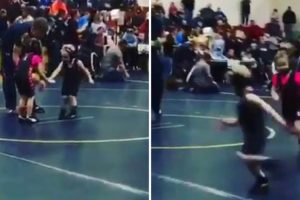 4-Year-Old Boy Hilariously Runs Away From Girl During Wrestling Competition 10