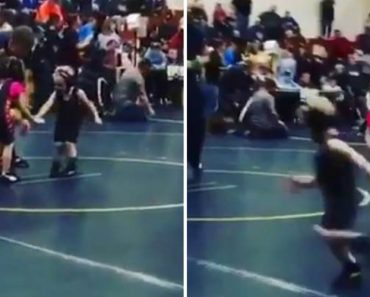 4-Year-Old Boy Hilariously Runs Away From Girl During Wrestling Competition 7