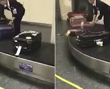 Handled With Care! Japanese Airport Worker Is Filmed Cleaning Luggage Before Passengers Pick It Up 4