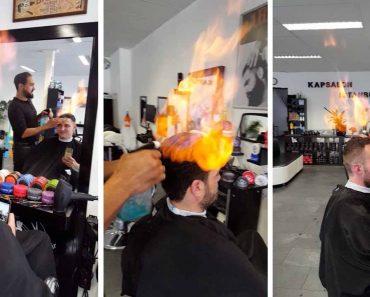 Maverick Barber Gives Haircuts Using Flammable Liquid And Fire 7