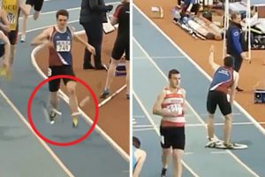 Runner Gets Tangled Up In Pole Vault Crossbars At The Final Stretch Of Race 10