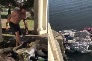 Cruel Jogger Throws Homeless Man's Clothes Into Oakland Lake 12
