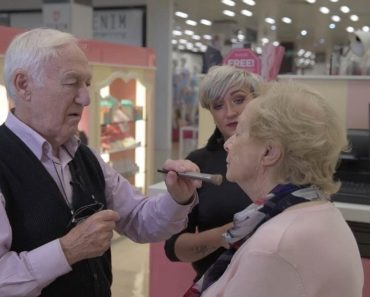 84 Year Old Husband Learns Make-Up Tips For Blind Wife 6