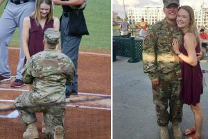 U.S. Army Reservist Proposes to Girlfriend During North Carolina Baseball Game 12