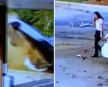 Woman Walks Away Like Everything's Normal After Her Car Goes Airborne And Crashes Into Gas Station 9
