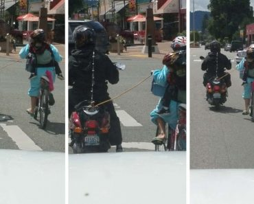 Scooter Pulls Bike Carrying Child Down Road With Rope 8