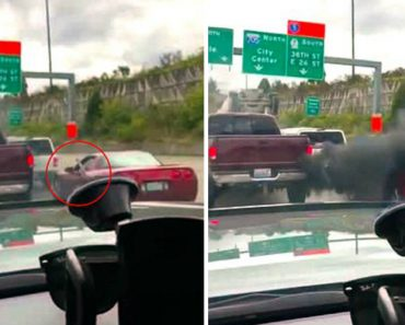 Corvette Driver Refusing To Let In Truck Rolls Down Window To Flip The Bird And Gets A Face Full Of Smoke 8