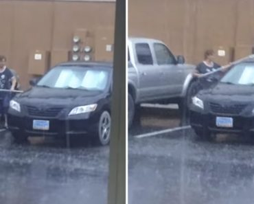 Woman Decided It Would Be A Good Idea To Wash Her Car In The Rain 1